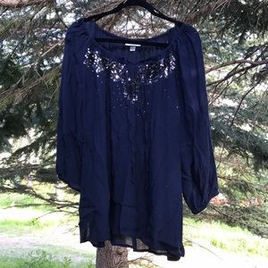 Navy Blue Sequin Dress Barn Blouse Size 22/24